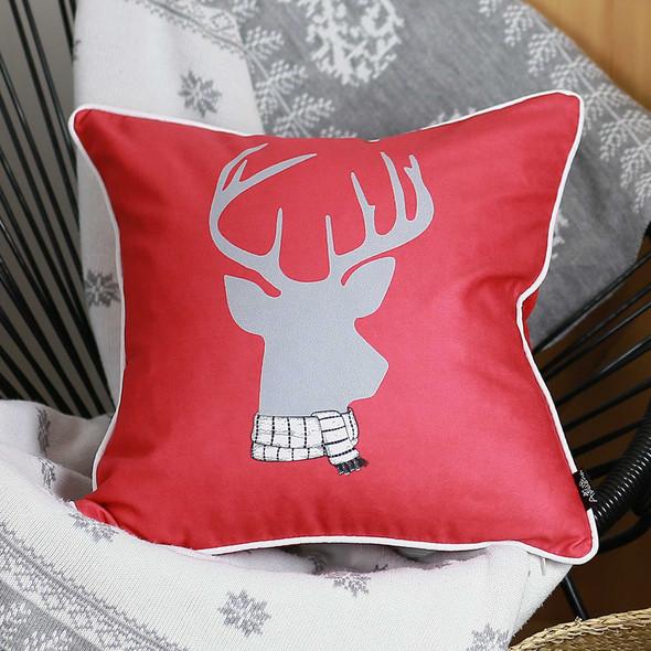 "18""x18"" Christmas Deer Printed Decorative Throw Pillow Cover"
