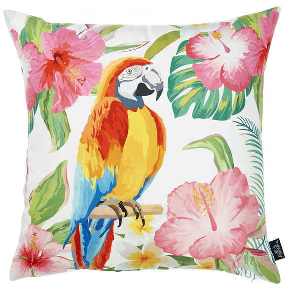 "18""x 18"" Tropical Parrot Forest Decorative Throw Pillow Cover"