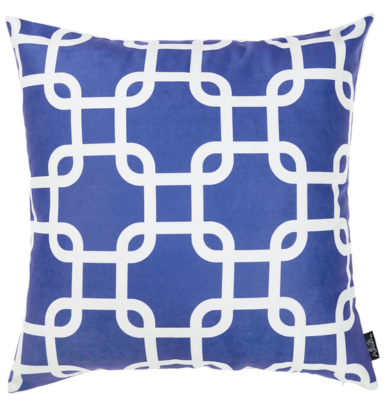 "18""x18""Blue Nautica Latice Decorative Throw Pillow Cover Printed"