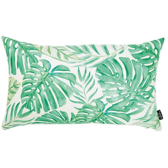 """20""""x12"""" Tropical Monstera Lumbar Decorative Throw Pillow Cover"""