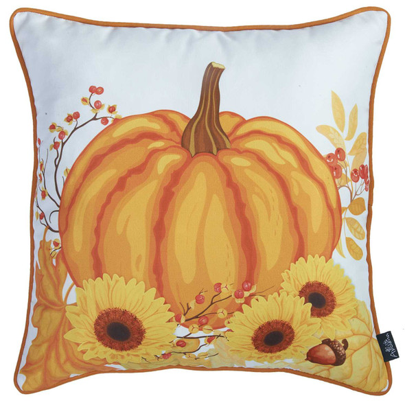 """18""""x 18"""" Thanksgiving Harvest Decorative Throw Pillow Cover"""