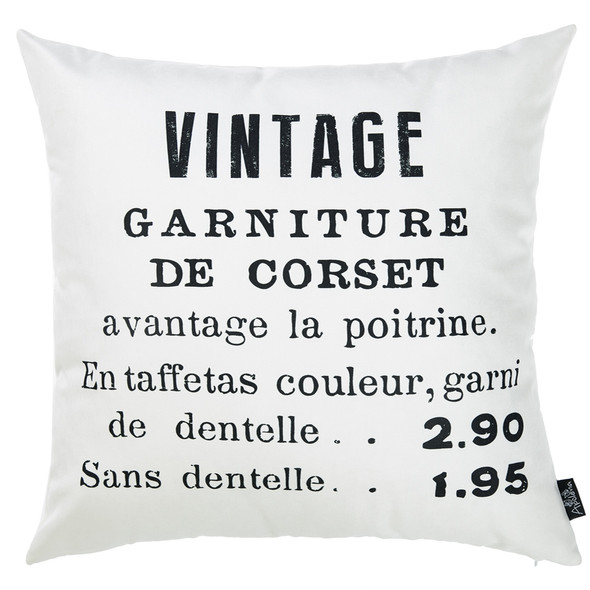 "18""x 18"" Black and White Vintage Decorative Throw Pillow Cover"
