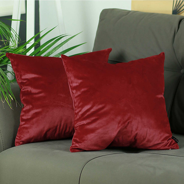 "18""x 18"" Red Velvet Carmine Decorative Throw Pillow Cover 2 Pcs in set"