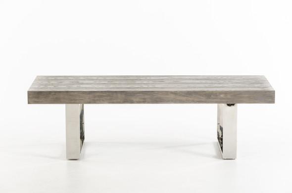 "18"" Grey Brush Veneer and Stainless Steel Bench"