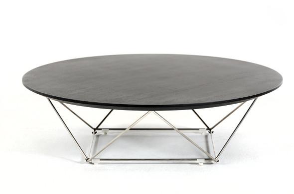 """11"""" Wenge Veneer and Stainless Steel Coffee Table"""