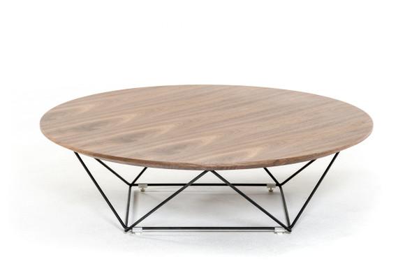 """11"""" Walnut Veneer and Black Metal Coffee Table"""