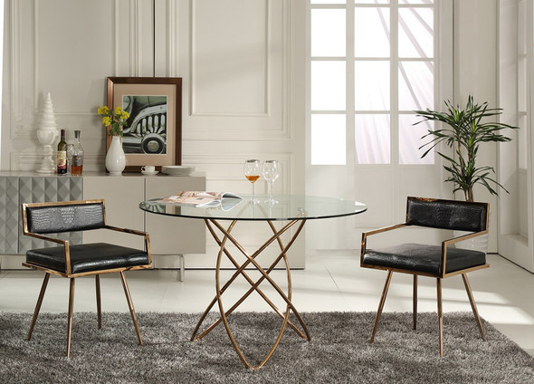 """30"""" Rosegold Stainless Steel and Glass Dining Table"""