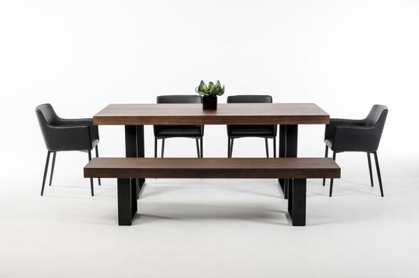 "30"" Walnut Veneer and Stainless Steel Dining Table"