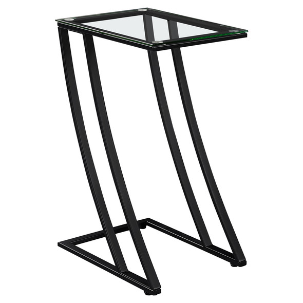 """15.75"""" x 12"""" x 24"""" Black, Clear, Metal, Tempered Glass - Accent Table"""