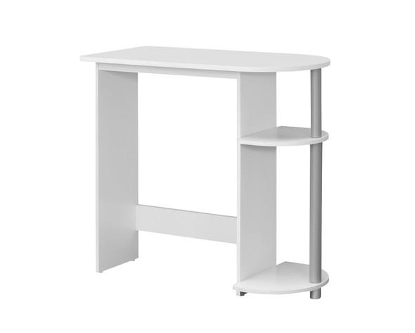 """15.5"""" x 32"""" x 29"""" White/Silver, Particle Board, Laminate - Computer Desk"""