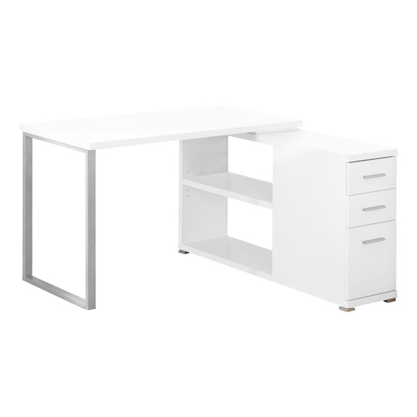 """47.25"""" x 47.25"""" x 29.5"""" White, Silver, Particle Board, Hollow-Core, Metal - Computer Desk With A Hollow Core"""