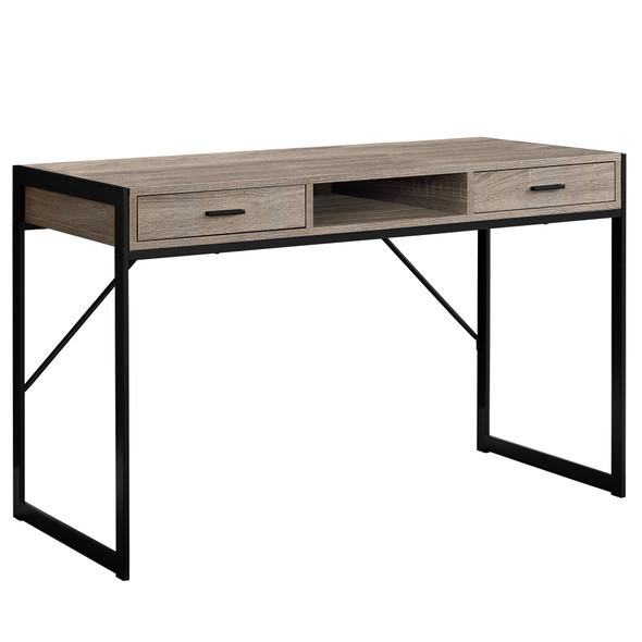 "22"" x 48"" x 30"" Dark Taupe, Black, Metal - Computer Desk"