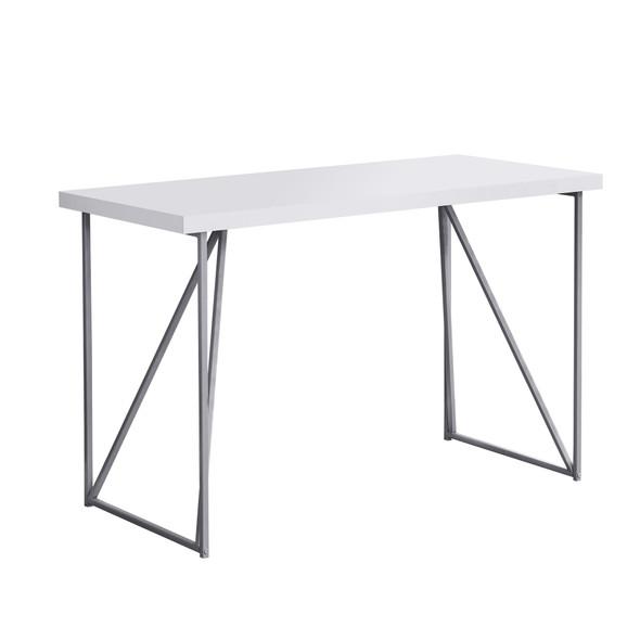"22"" x 47.25"" x 30"" White, Silver, Metal, Hollow-Core, Particle Board - Computer Desk"