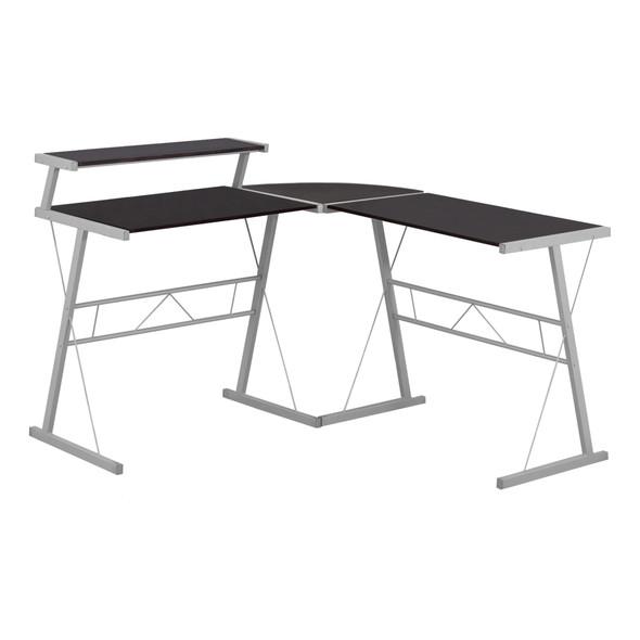"18.25"" x 48.25"" x 36.75"" Cappuccino, Silver, Metal - Computer Desk"