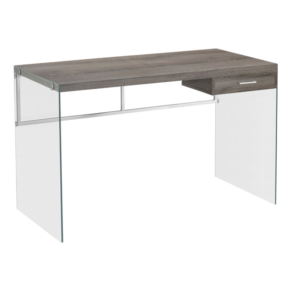 """23.75"""" x 48"""" x 30"""" Dark Taupe, Clear, Particle Board, Glass, Metal, Tempered Gl - Computer Desk"""