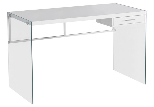 """23.75"""" x 48"""" x 30"""" White, Clear, Particle Board, Glass, Metal, Tempered Glass - Computer Desk"""