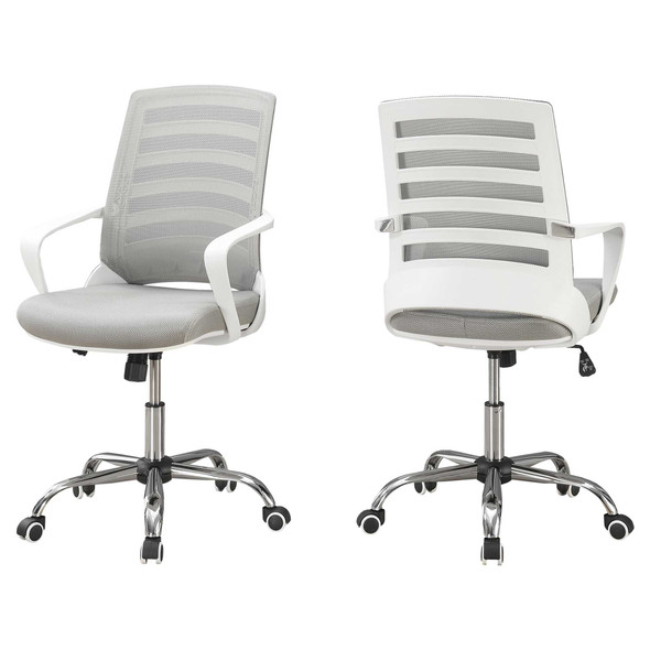 "24.25"" x 24"" x 39"" White, Grey, Foam, Metal, Nylon, - Multi Position Office Chair"
