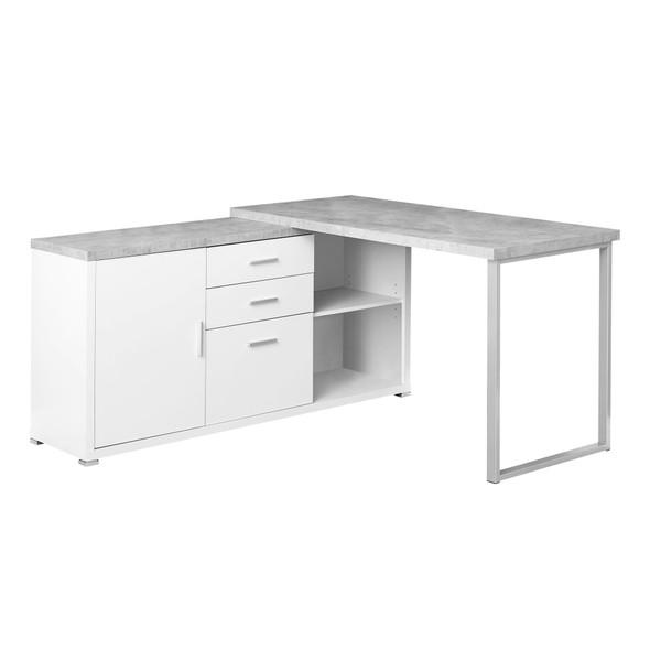 "57"" x 57"" x 29.75"" White, Grey, Silver, Particle Board, Hollow-Core, Metal - Computer Desk"