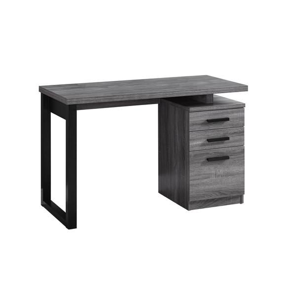 "23.5"" x 47.25"" x 30"" Grey, Black, Particle Board, Hollow-Core - Computer Desk"