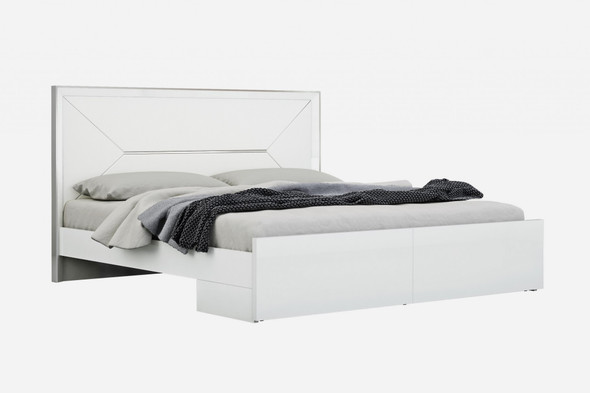 """76"""" X 80"""" X 51"""" White Faux Leather King Bed"""