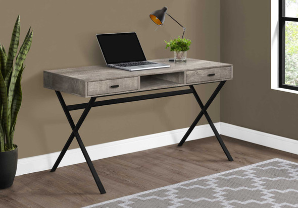"""29.25"""" Taupe Reclaimed Wood Particle Board and Black Metal Computer Desk"""