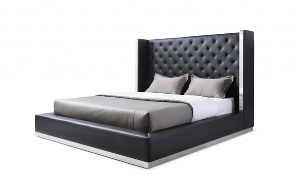 "75"" X 91"" X 60"" Black Faux Leather Queen Bed"