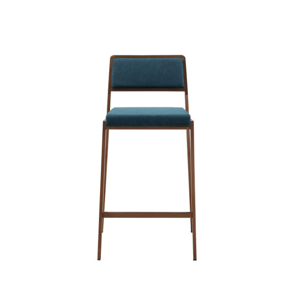 """19"""" X 20"""" X 35"""" Blue Stainless Steel Counter Stool"""