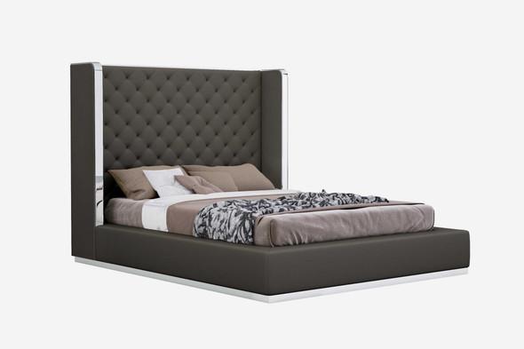 """75"""" X 91"""" X 60"""" Dark Grey Queen Bed"""