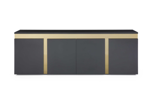 "94"" X 18"" X 35"" Black Stainless Steel Buffet"
