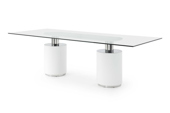 """94"""" X 39"""" X 30"""" White Glass/Stainless Steel Dining Table"""