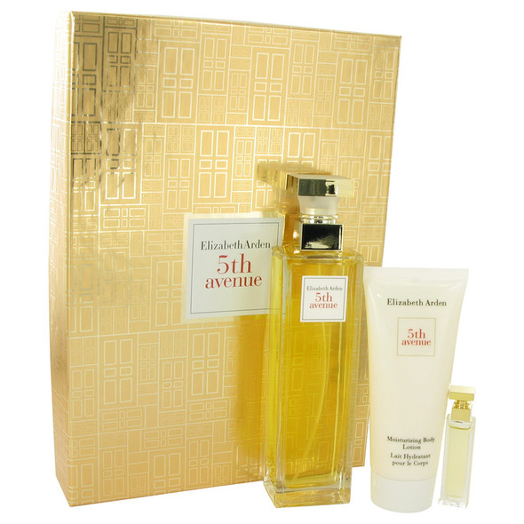 5TH AVENUE by Elizabeth Arden Gift Set -- 4.2 oz Eau De Parfum Spray + .12 oz Mini + 3.3 oz Body Lotion for Women