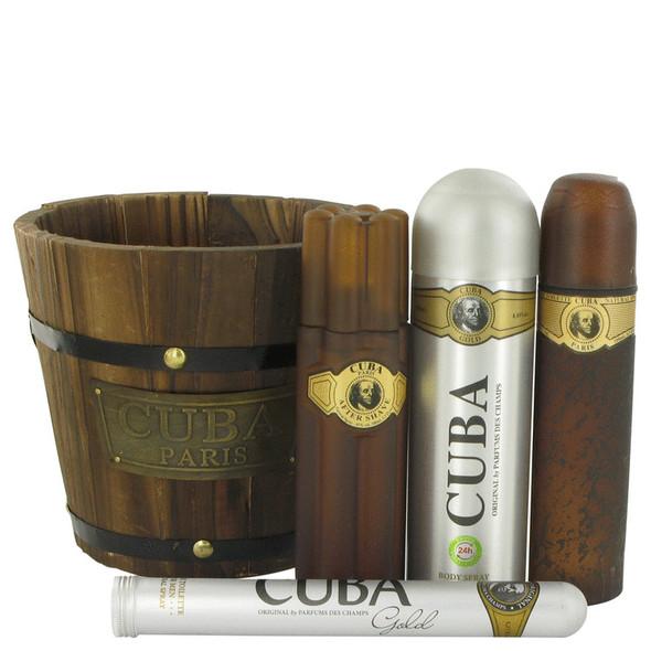 Cuba Gold by Fragluxe Gift Set -- 3.4 oz Eau De Toilette Spray + 1.17 oz Eau De Toilette Spray + 6.7 oz Body Spray + 3.3 oz After Shave for Men