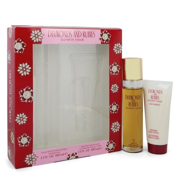 DIAMONDS & RUBIES by Elizabeth Taylor Gift Set -- 3.3 oz Eau De Toilette Spray + 3.3 oz Body Lotion for Women