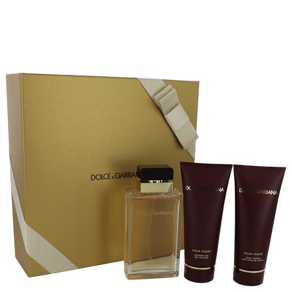 Dolce & Gabbana Pour Femme by Dolce & Gabbana Gift Set -- 3.4 oz Eau De Parfum Spray + 3.4 oz Shower Gel + 3.4 oz Body Lotion for Women