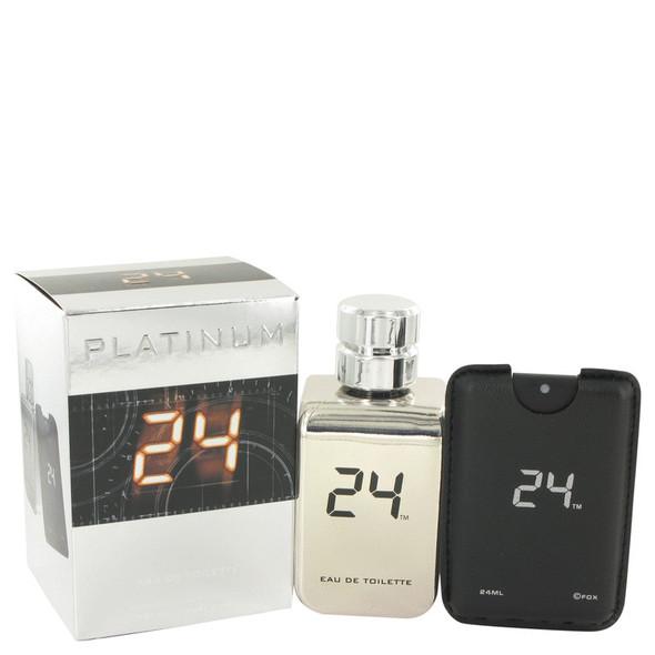 24 Platinum The Fragrance by ScentStory Eau De Toilette Spray + 0.8 oz Mini Pocket Spray 3.4 oz for Men