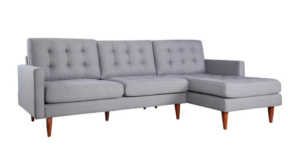 "105"" X 61"" X 38"" Gray Polyester Raf Sectional"