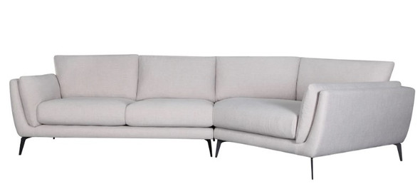 "134"" X 65"" X 35"" Oatmeal Polyester Raf Sectional"