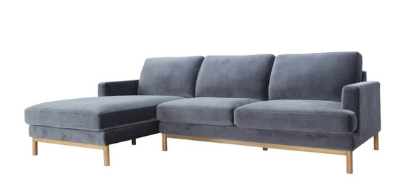 "106"" X 61"" X 34"" Gray Polyester Laf Sectional"