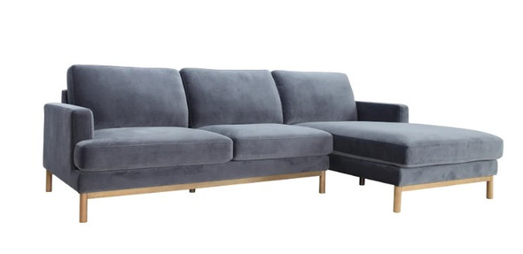 "106"" X 61"" X 34"" Gray Polyester Raf Sectional"