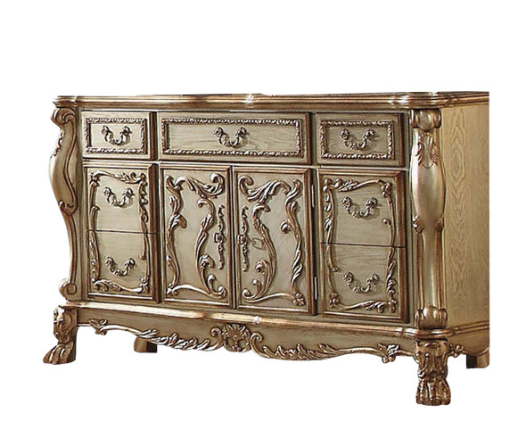 "20"" X 66"" X 38"" Gold Patina Bone Wood Poly Resin Dresser/Server"