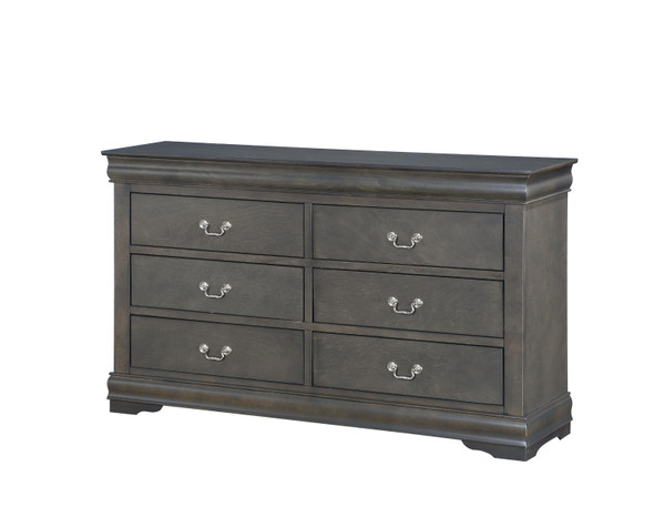 "15"" X 57"" X 33"" Dark Gray Wood Dresser"