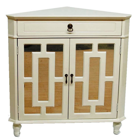 "31"" X 17"" X 32"" Antique White MDF, Wood, Mirrored Glass Corner Cabinet with a Drawer and Doors"