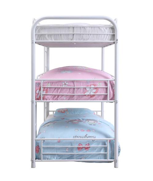 "57"" X 79"" X 74"" White Metal Triple Bunk Bed - Full"