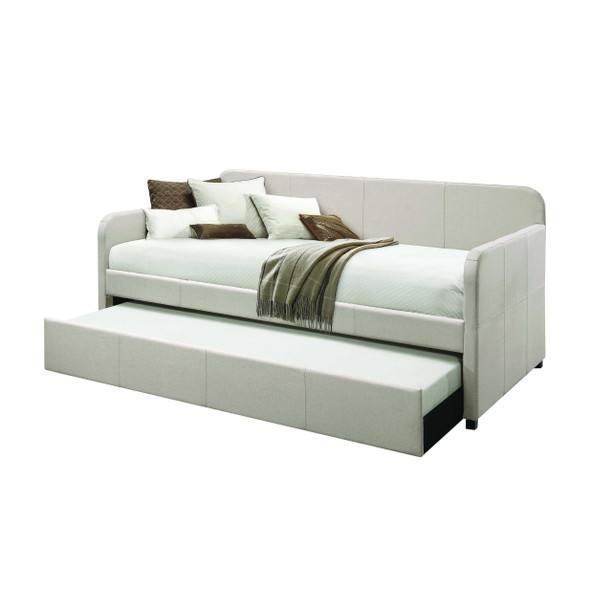 """43"""" X 82"""" X 37"""" Fabric Upholstered (Bed) Wood Leg Daybed amp; Trundle (Twin Size)"""