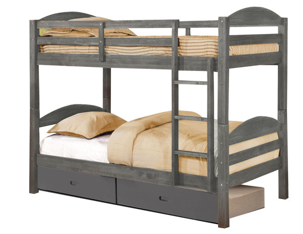 """81"""" X 42'.5"""" X 64'.75"""" Grey Solid and Manufactured Wood Twin/Twin Bunk Bed with 2 Drawers"""