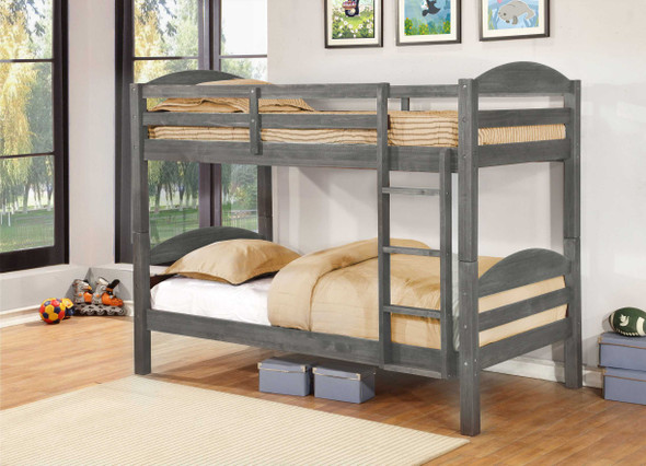 """81"""" X 42'.5"""" X 64'.75"""" Grey Solid and Manufactured Wood Twin/Twin Bunk Bed"""