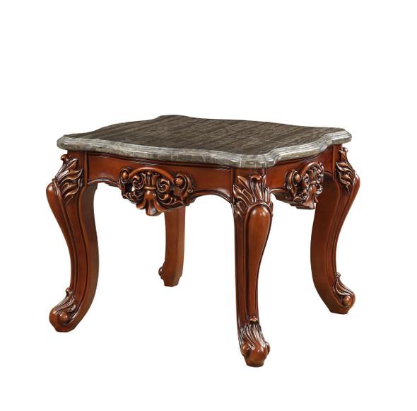 "30"" X 30"" X 25"" Marble Walnut Wood End Table"