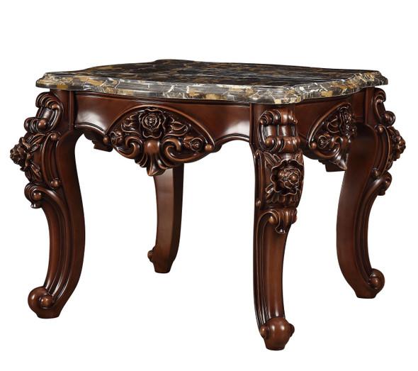 "30"" X 30"" X 25"" Marble Walnut Wood End Table - 347443"