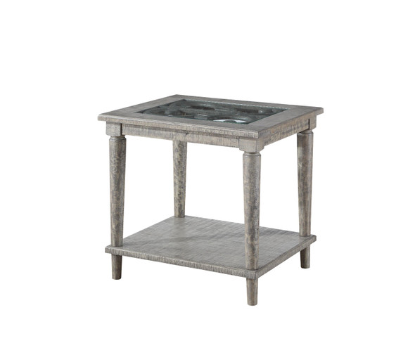 "24"" X 28"" X 25"" Salvaged Natural Glass Wood End Table"