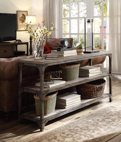 """60"""" X 16"""" X 30"""" Weathered Oak And Antique Silver Console Table"""